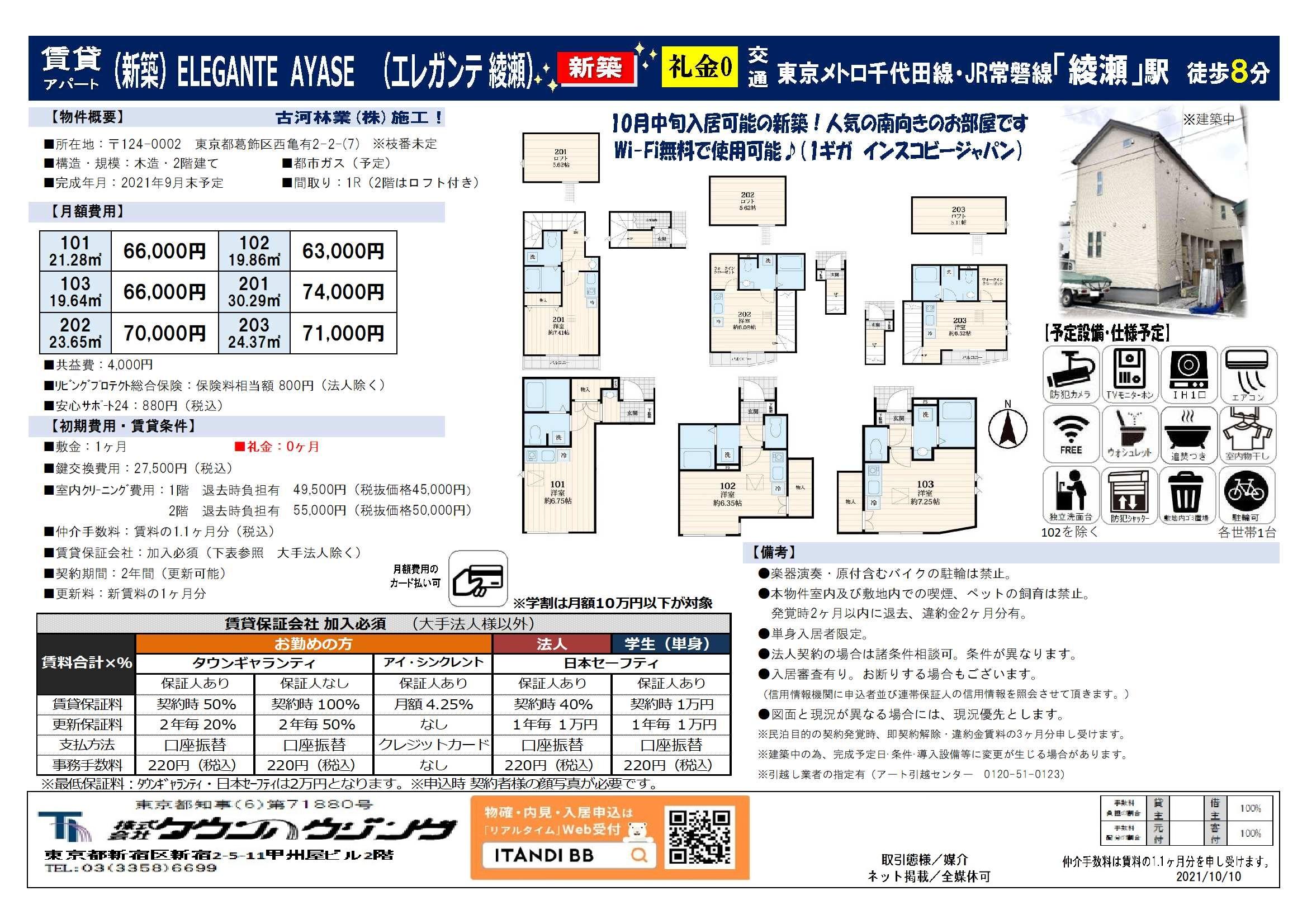 東京メトロ千代田線 綾瀬駅 徒歩8分 1R / 1R+ロフト